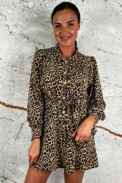 Blouse dress small leopard incl. tasje - Zwart